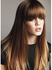 Classical Bob Top Quality Natural Straight Medium Synthetic Hair Capless Wigs 24 Inches