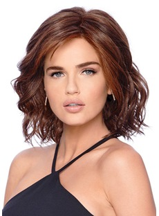 Shoulder Length Loose Deep Wave Side Swept Synthetic Hair Capless Wigs 14Inches