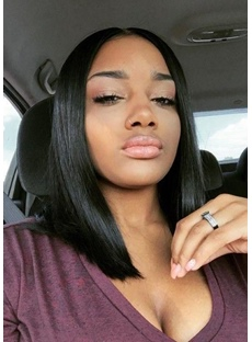 Middle-Length Natural Straight Bob Hairstyle Blunt Cut Side Parted Synthetic Capless Wigs 12 Inches