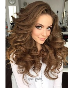 Big Curly Layered Hairstyle Full Fringe Long Synthetic Capless Women Wigs 24 Inches