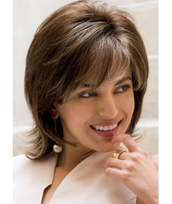 Short Layered Straight Synthetic Hair With Bangs Capless Wig
