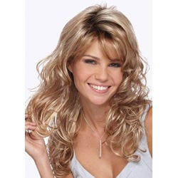 Curly Layered Hairstyle with Full Fringe Middle Length Synthetic Capless Women Wigs 24 Inches