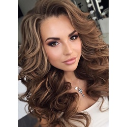 Long Big Curly Layered Hairstyle Full Fringe Synthetic Capless Women Wigs 24 Inches