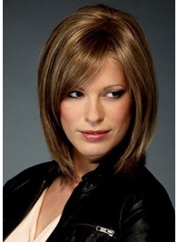 Straight Bob Medium Synthetic Hair Capless Wigs 14 Inches