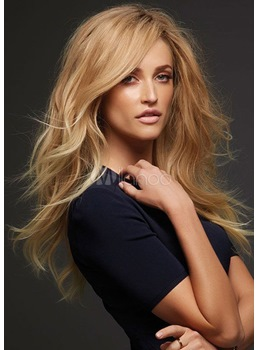 Loose Wave Layered Hairstyle with Full Fringe Middle Length Synthetic Capless Women Wigs 24 Inches