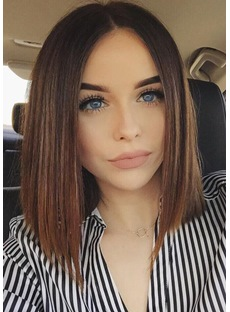 Classical Bob StyleTop Quality Natural Straight Medium Synthetic Hair Capless Wigs 14 Inches