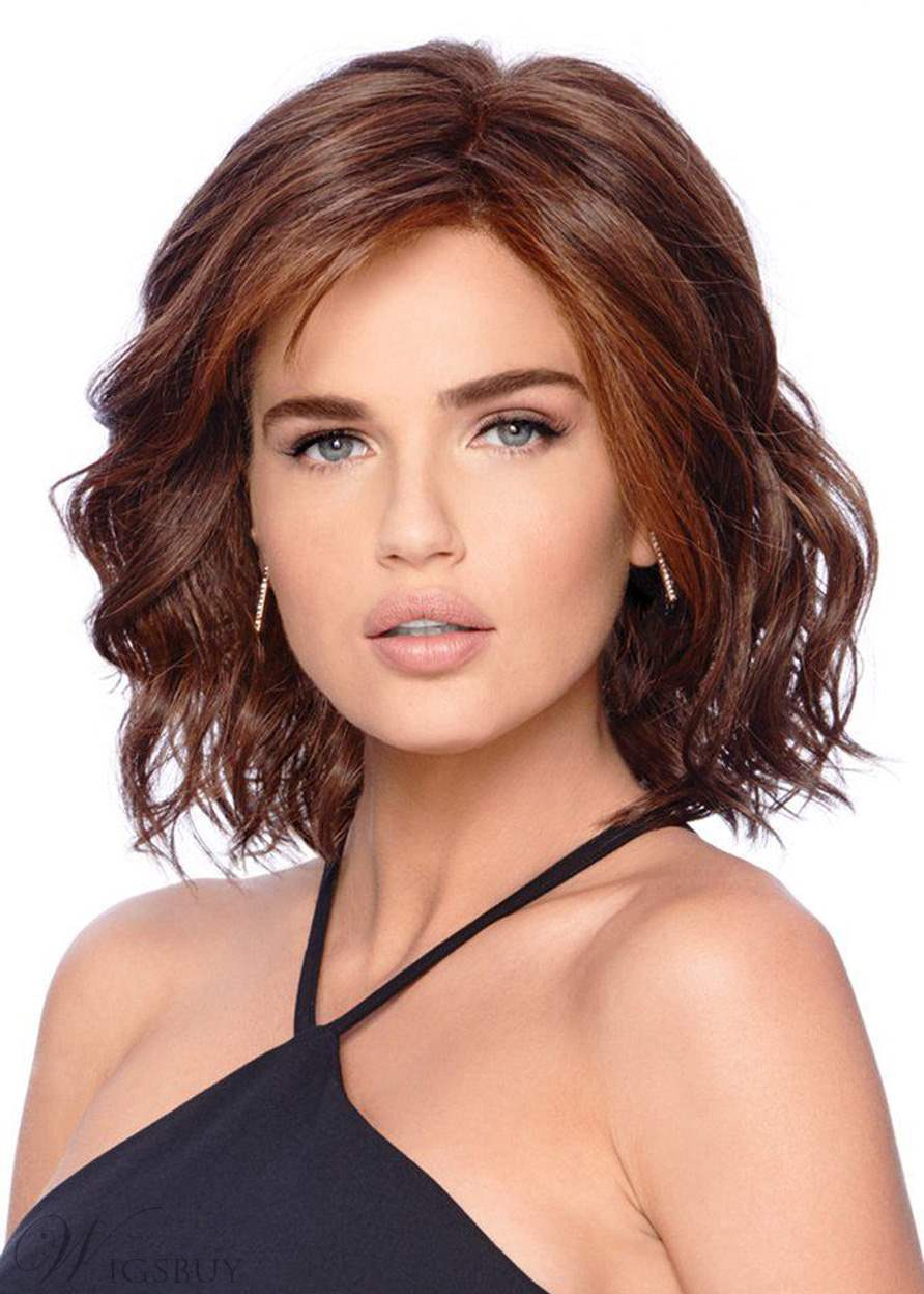 Shoulder Length Loose Deep Wave Side Swept Synthetic Hair Capless Wigs 14Inches: Wigsbuy.com