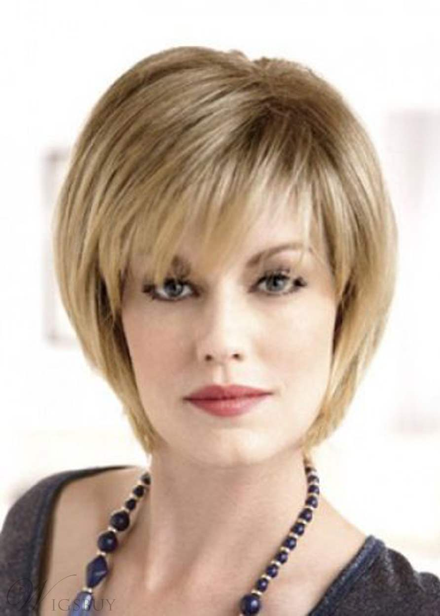 Style Short Layered Natural Straight Human Hair With Bangs Lace Front Wig 10 Inches