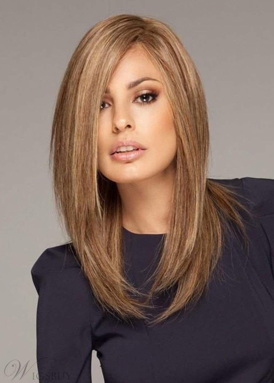 Straight Bob Medium Length Synthetic Hair Capless Wigs 16 Inches
