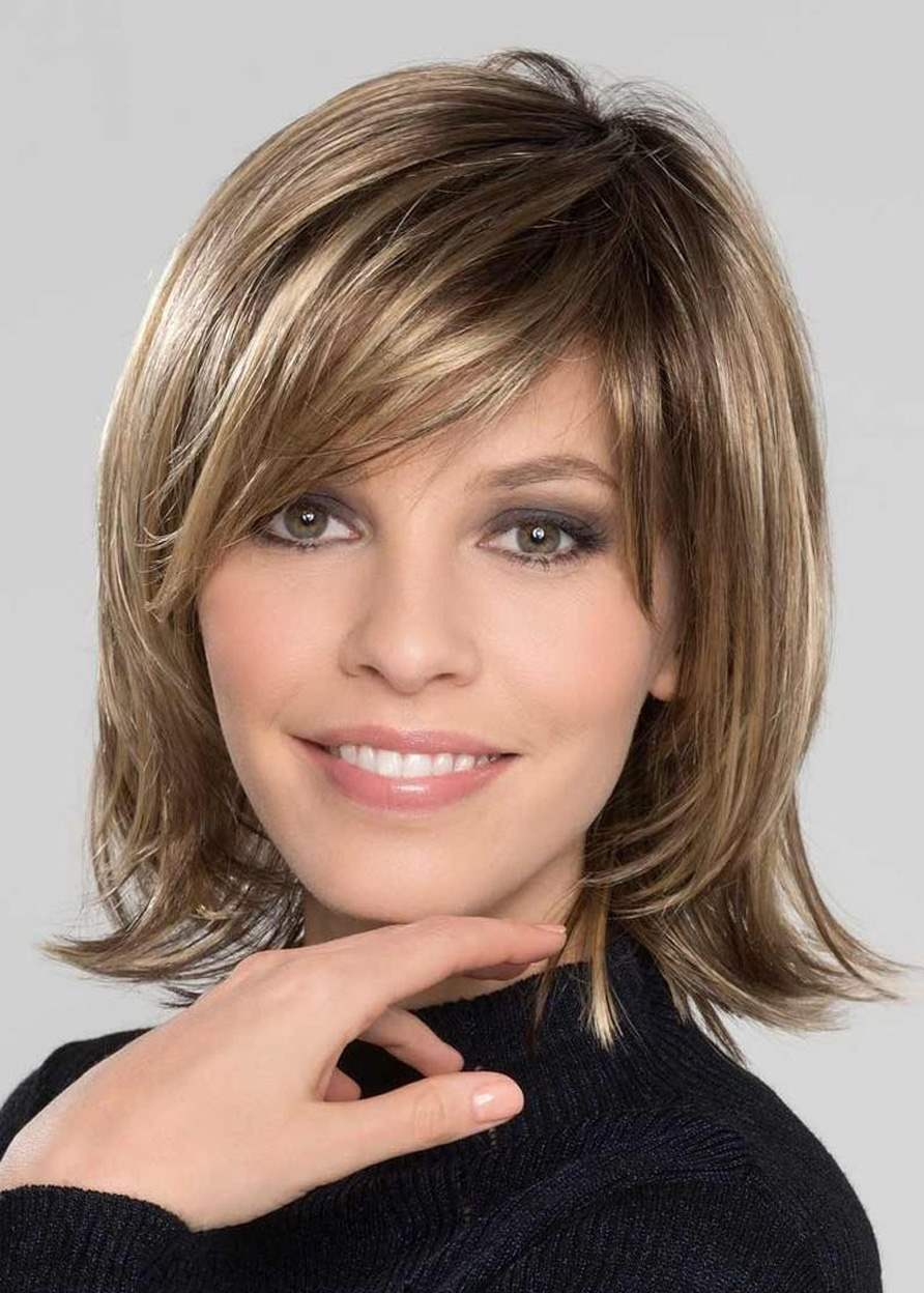 Sexy Medium Length Natural Straight Synthetic Hair Capless Wigs 10 Inches