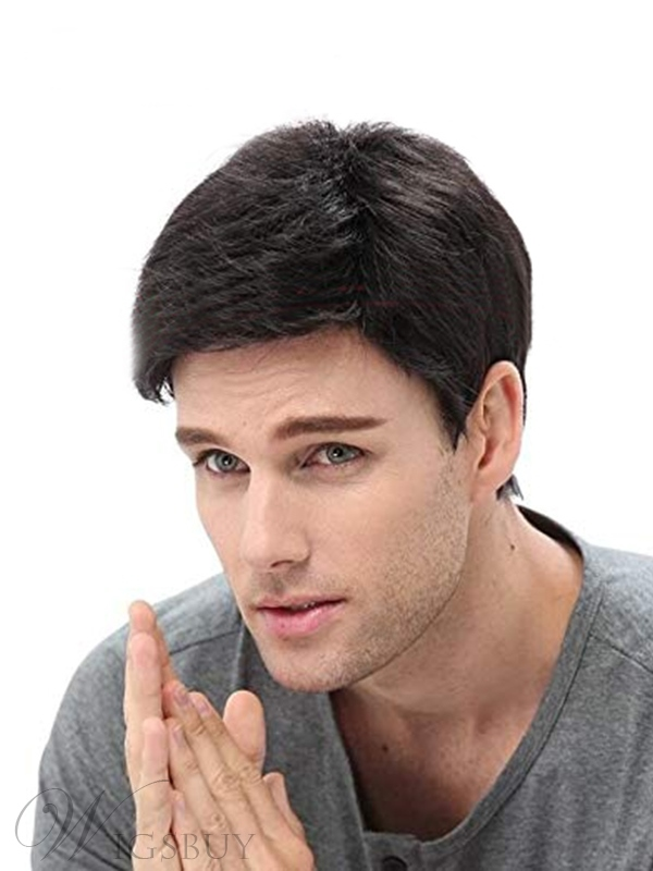 Men's Wig Black Natural Looking ShortSynthetic Hair Capless Wigs 12inch
