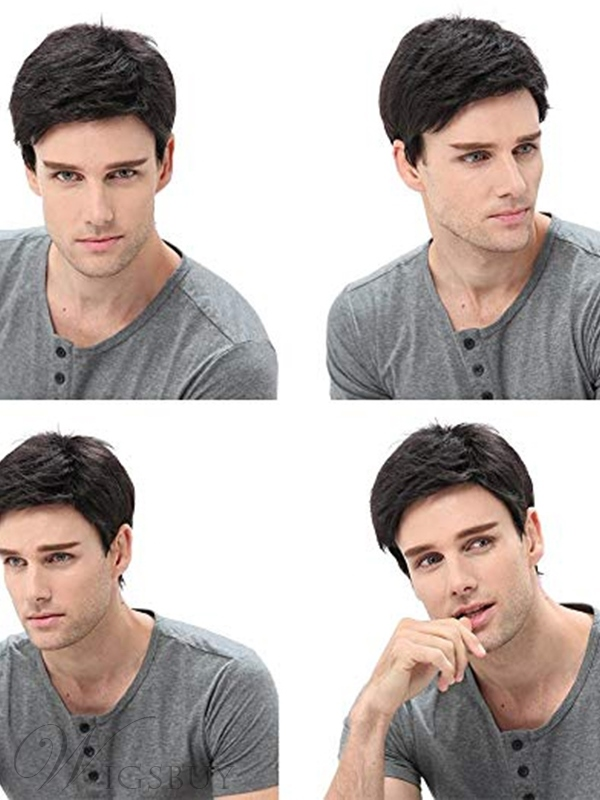 Men's Wig Black Natural Looking ShortSynthetic Hair Capless Wigs 8 inch