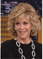 Jane Fonda Hairstyle Wavy Layered Synthetic Hair Capless Wigs 12 Inches