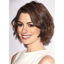 Anne Hathaways Short Crop Hairstyle Wavy Human Hair Wig