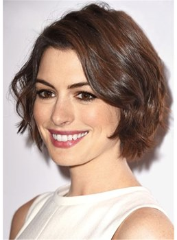 Anne Hathaway's Short Crop Hairstyle Wavy Human Hair Wig