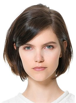 One Side Parted Short Natural Straight Human Hair Wig