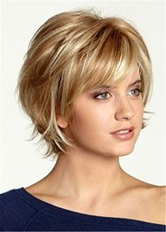 Short Choppy Layered Wavy Synthetic Hair Capless Wig