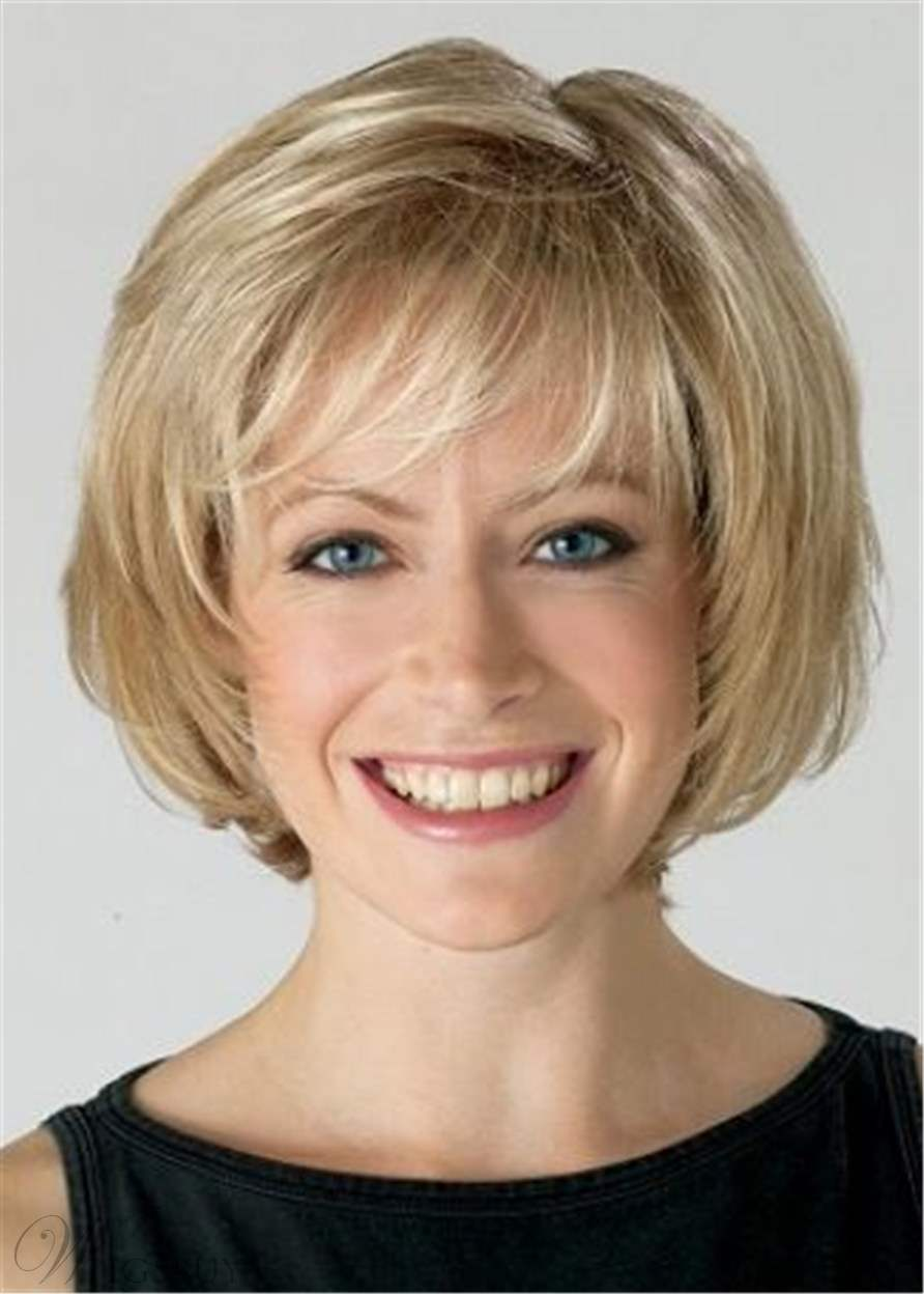 Medium Chin Length Bob Wig With Bangs Straight Synthetic Hair Wig