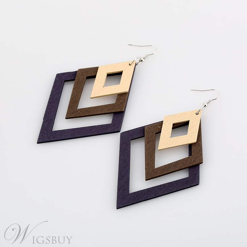 Rhombus Hollow Out Earrings