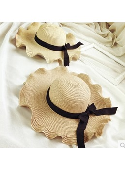 Wave Mesh &Lace Straw Hat For Summer