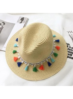 Wave Tassels Straw Hat For Summer