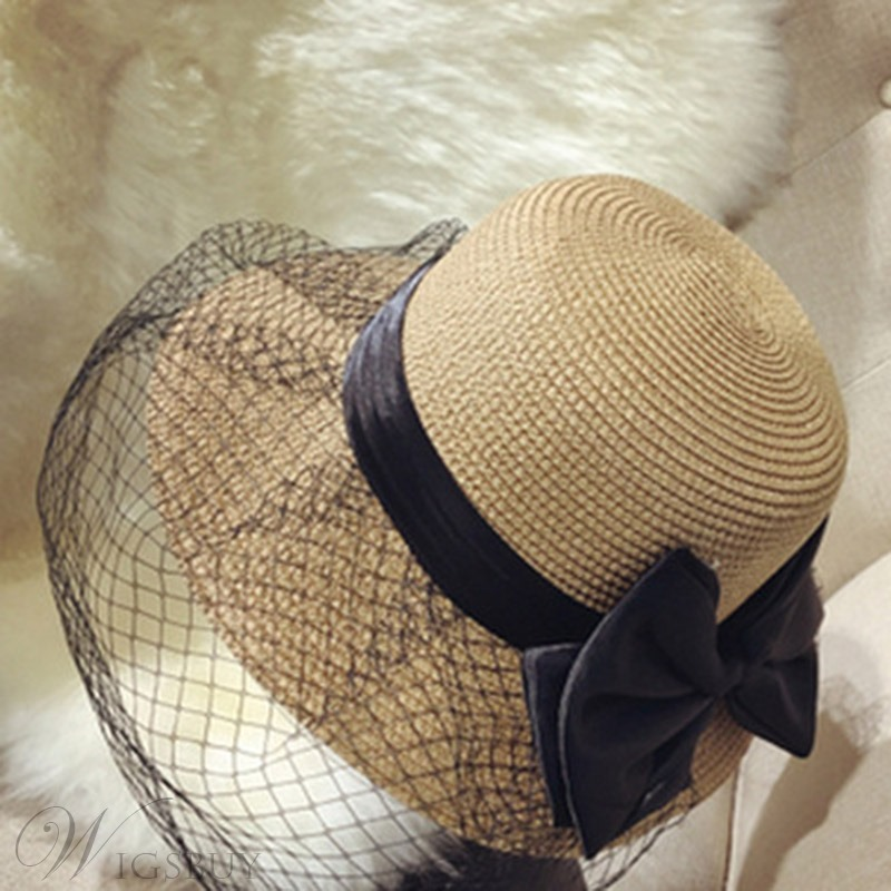 Mesh &Lace Straw Hat For Summer