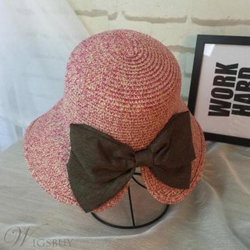 Wave Bowknot Straw Hat For Summer
