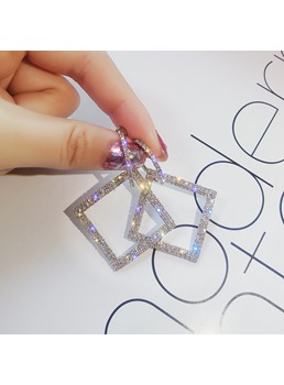 Square Hollow Out Diamante Earrings