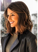 Best Quality Elegant Middle Length Wavy Human Hair Lace Front Cheap Wigs 16 Inches