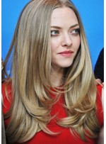 Attractive Medium Length Natural Straight 100% Human Hair Capless Wigs 20 Inches