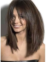 Attractive Medium-Length Silky Straight 100% Human Hair Capless Wigs 18 Inches