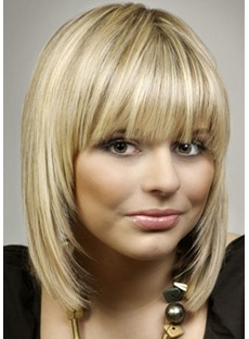 Attractive Short Silky Straight 100% Human Hair Capless Wigs 16 Inches