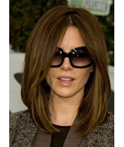 Attractive Shoulder-Length Silky Straight 100% Human Hair Capless Wigs 18 Inches