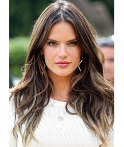 Beautiful Medium Length Natural Straight 100% Human Hair Lace Front Wigs 22 Inches