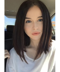 Shoulder Length Lob Hairstyle Silky Straight Natural Color Human Hair Lace Front Wigs 16 Inches
