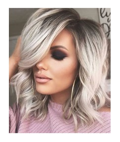 Pretty Charming Short Length Natural Casual Wavy Remy Human Hair Lace Front Wigs 14 Inches