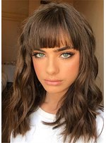 Long Wavy Synthetic Hair With Bangs Caples Wig 18Inches