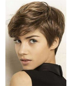 Boy Cut Hairstyle Natural Straight Human Hair Women Capless Wig 10 Inches