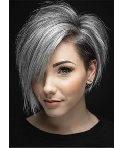 Flattering Short Cut Oneside Parted Synthetic Hair Straight Wig