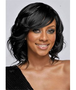 Medium Bob Synthetic Wavy Hair With Bang Capless Wig 14 Inches
