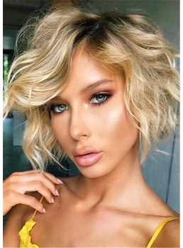 Bob Type Wavy Synthetic Hair With Bangs Capless Wig