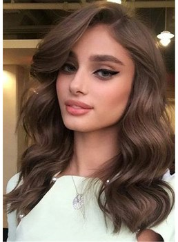 One Side Parted Long Wavy Human Hair Capless Women Wig 20 Inches