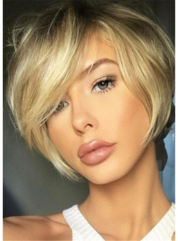 Natural Short Straight Layered Bob Synthetic Hair Wig 10 Inches