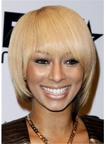 Keri Hilson Short Straight Bob Hairstyle With Bangs African American Wigs 12Inches