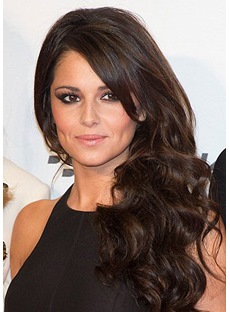 Cheryl Cole Haircut Long Loose Wave Layered Synthetic Hair Lace Front Wigs 24 Inches