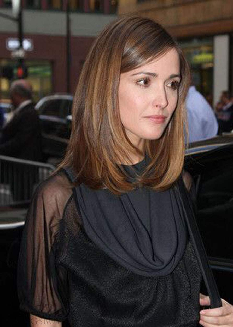 Rose Byrne Medium Straight Cut Synthetic Lace Front Wigs 16 Inches