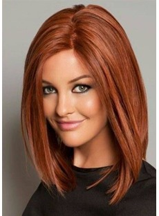 Top Quality Classical LOB Haircut Natural Straight Medium Synthetic Hair Capless Wigs 18 Inches