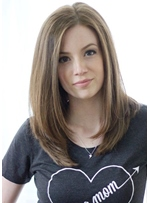 Middle-Length Middle Parted Hairstyle Natural Straight Synthetic Hair Lace Front Wigs 20 Inches