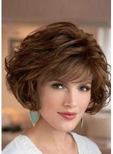 Deluxe Layered Curly Lace Front Synthetic Hair Wigs 10 Inches