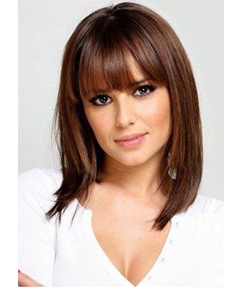 Shoulder Length Natural Straight Haircut With Bangs Synthetic Hair Lace Front Wigs 18 Inches
